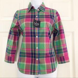 NWT Chaps Womens Button Down Shirt Plaid PS